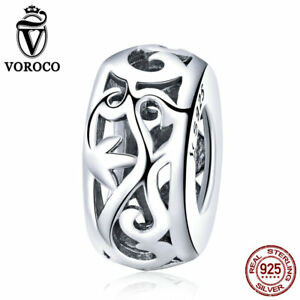 VOROCO-925-Sterling-Silver-Cirrus-Spacer-Charms-With-High-Polish-For-Bracelet