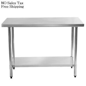 24 in. x 48 in. Stainless Steel Utility Table Kitchen Work Center ...