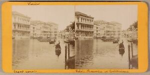 Grand Canal Venezia Italia Foto Stereo PL55L2n Vintage Albumina c1880
