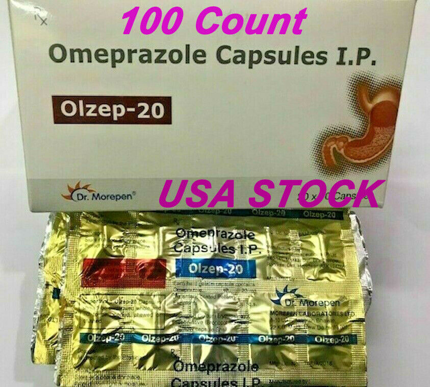 Omeprazole 100 ct Capsules Heartburn Acid Reducer OTC 20mg- FEEE SHIPPING 1