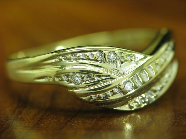 8kt 333 oro ANELLO con guarnizione in in in diamante 1 8 G RG 52 5 eeec64