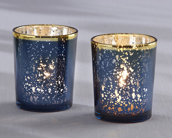 Navy bleu & or Mercury Glass Tea Light Candle Holder Bridal Wedding Favor