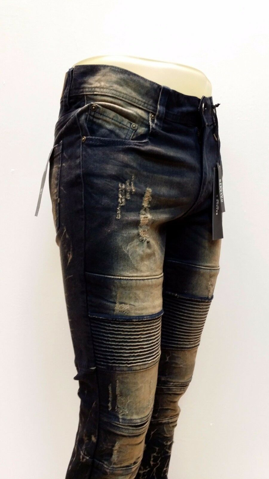 KAYDEN.K Men's Premium Destroy Slim Fit Moto Biker Jeans Pants Vintage bluee 520