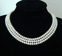 charm 3Rows 7-8mm Natural White Akoya Pearl Fashion Jewelry Necklace AA+
