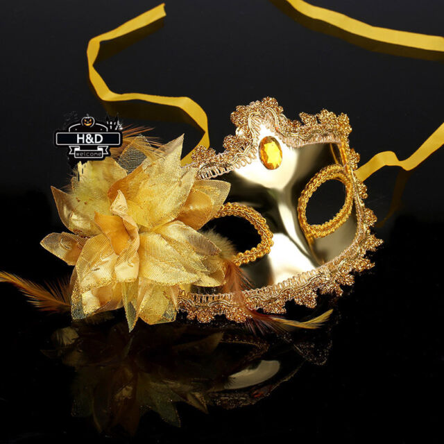 Womens Gold Sexy Venetian Masquerade Eye Mask Lace Halloween Party Fancy Dress