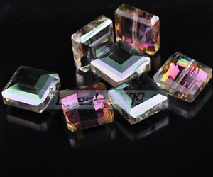 20pcs-Faceted-Glass-Crystal-Charm-Square-Finding-Spacer-Bead-13x8mm-Colorized