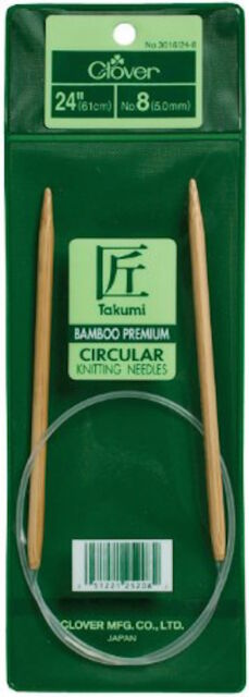 Clover 3016/24-8 Takumi Circular 24 Inch Knitting Needles Bamboo