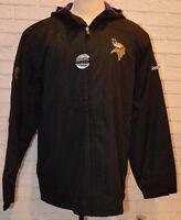 Men's Reebok NFL Vikings Full Zip Hooded Fleece Lined Sideline Jacket Coat 2XL