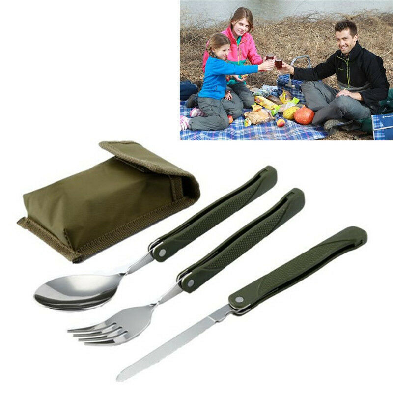 Stainless Steel Camping Flatware Folding Fork Cutter Picnic Tableware Spoon CH