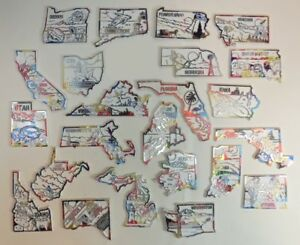 United States Map Magnets.Big Lot Of 23 United States Usa Us State Map Outline Rubber