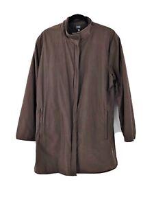 Eileen-Fisher-Brown-Cotton-Nylon-Blend-Coat-Hidden-Zip-Up-Jacket-Size-Large