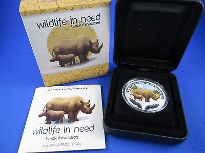 Black Rhinoceros 1 Oz Silver Proof Coin Tuvalu 2012 $1 Wildlife in Need