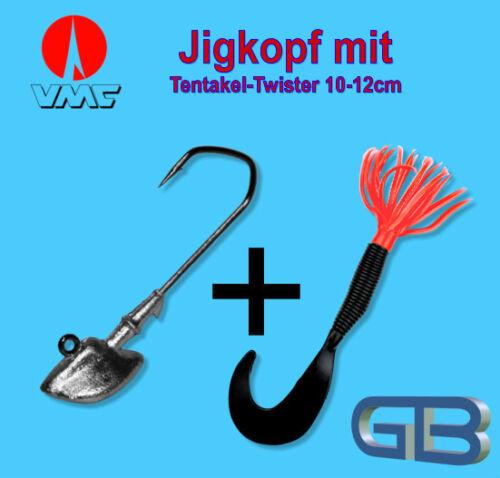 VMC Jig  4//0 10g 18g Tentakel-Twister 10-12cm Jigkopf Eriekopf Bleikopf