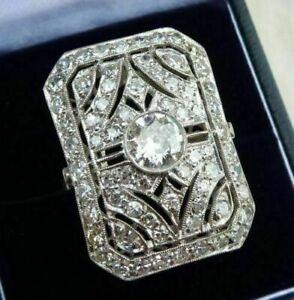 Victorian-Edwardian-Vintage-Engagement-Ring-1Ct-Diamond-Ring-14k-White-Gold-Over