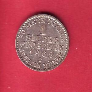 R* PRUSSIA 1 GROSCHEN GROSH 1868 C XF+