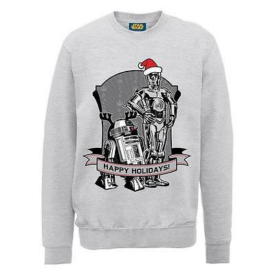 Star Wars Official C3P0 R2D2 Christmas Jumper // Grey // Small - XL Sith Jedi