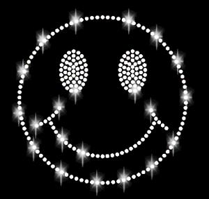 Pedrería cara sonriente 14cm aplicación perchas imagen lachgesicht Hot fix cara niño