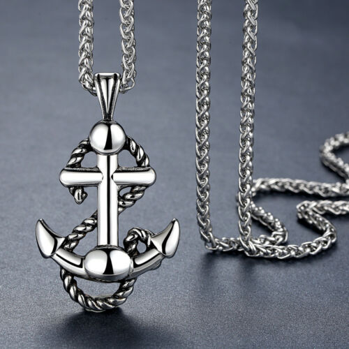 Men/'s Stainless Steel Rope Anchor Pendant Necklace