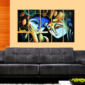 Details About Wall Mantra Radha Krishna Home Decorative 5 Panel Wall Art Painting Wm Wp41a