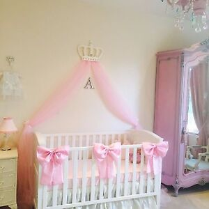 Details About Nursery Decor Baby S Large Cot Bow Princess Bedding Pink White X 3 Bows