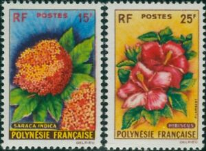 French-Polynesia-1962-Sc-196-197-SG20-21-Flowers-set-MLH