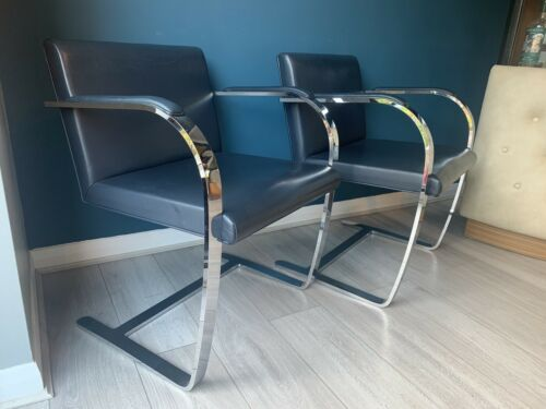 Pair of Retro Lounge Cantilever Chairs Leather - Knoll Mies van der Rohe Style