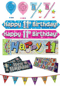 Image Is Loading 11th Birthday Boy Girl Pink Blue Party Banners