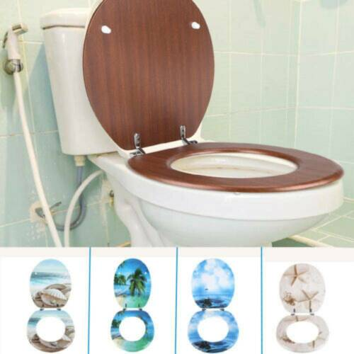 Durable Toilet Seat Close Fix Hinge Easy Clean Oval Shape MDF Seat Bathroom
