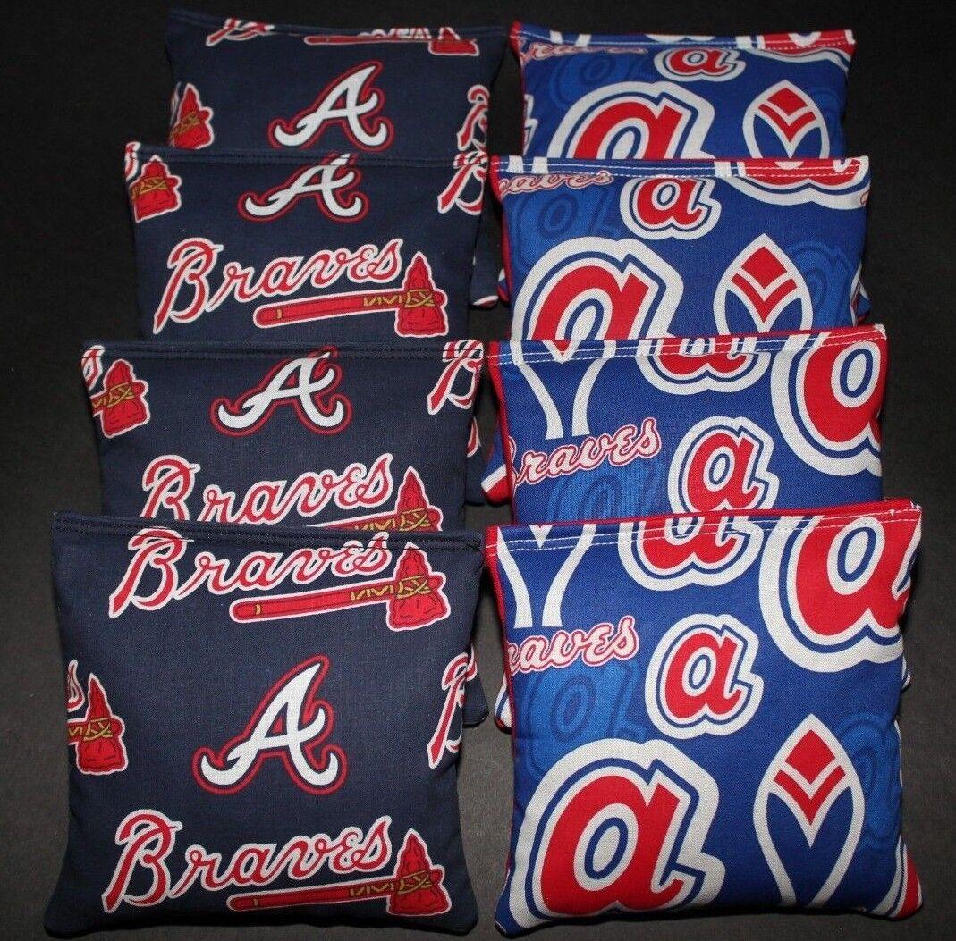 8 Cornhole Bean Bags made w Atlanta Braves Fabric ACA Reg Bags, Top Quality