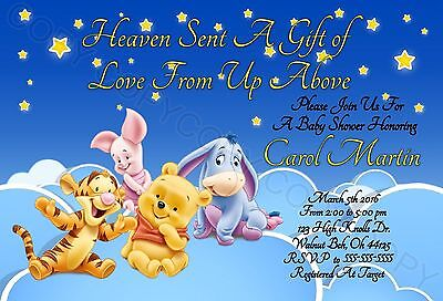Winnie the Pooh Baby Shower Invitations 12 pk Personalized