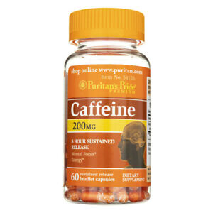 Puritans Pride Caffeine 200mg - 8-Hour Sustained Release - 60 Beadlet Capsules
