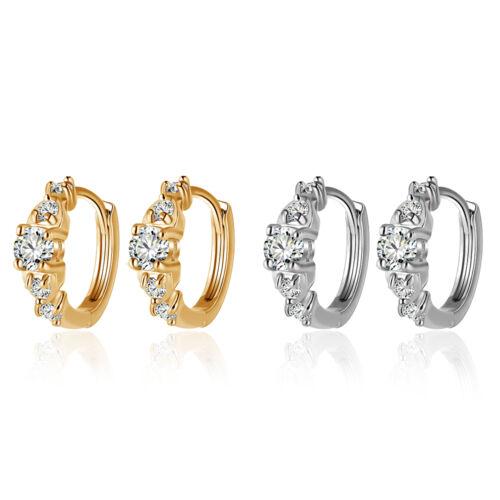 Elegant Femme Carré Cristal Femme Petit CZ RONDE Boucles d/'oreilles Créoles Korean Jewelry