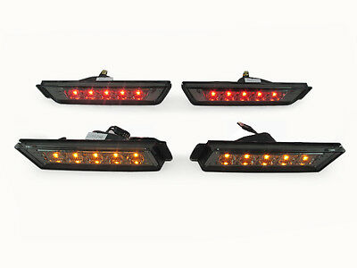 DEPO 2010-2012 CHEVY CAMARO SMOKE FRONT AMBER + REAR RED LED SIDE MARKER LIGHTS
