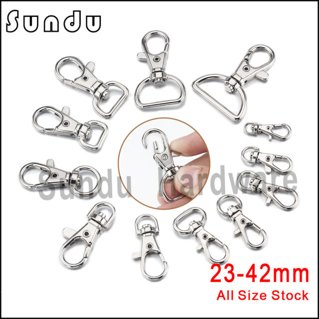 "50 Pcs 1.5/"" Length Metal Swivel Lanyard Lobster Claw Clasp Hook with 0.7/"" D Ring"