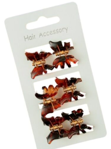 Set of 6 Girls Black or Tort Butterfly Motif Mini Hair Claw Clips Clamps Grips