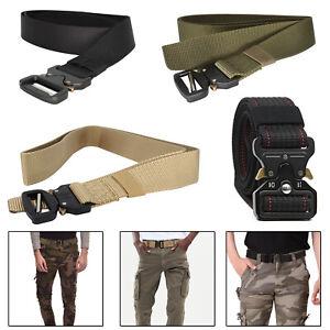 Militaer-Stil-Herren-Nylon-Gurtband-Taille-Guertel-Schnell-Freigabe-Schnalle-Armee