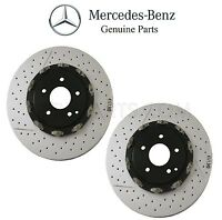 Mercedes R171 W209 Pair Set Of 2 Disc Brake Rotors Vented Cross Drilled Slotted on sale