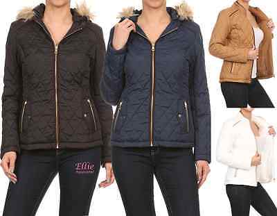 Women/'s Quilted Padded Fashion detachable Fur Hooded Jacket S//M//L//XL//2XL//3XL