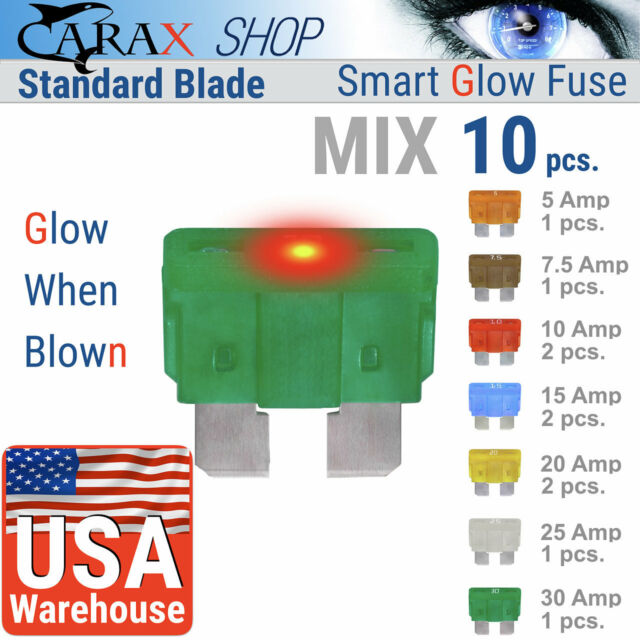 fuse automotive LED Glow Blown ATC ATO STANDARD blade smart regular mix set