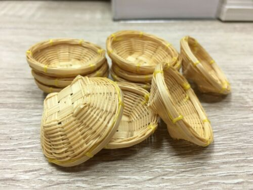 10 Small Wicker Bread Crisp Basket Dollhouse Miniatures Bakery Fruit Vegetable m