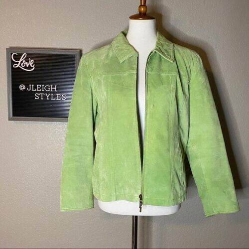 GUC Coldwater Creek Light Green Suede Jacket PL