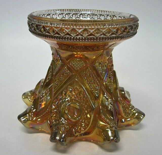 Vintage Imperial Fashion Pattern Marigold Carnival Glass Punch Bowl Base or Vase