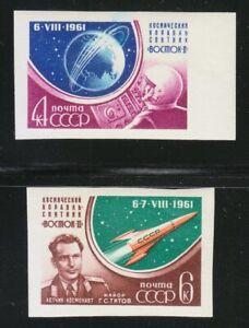 Russia-1961-MNH-Sc-2509-2510-Mi-2521B-2522B-Gherman-Titov-amp-Vostok-2-Imperf