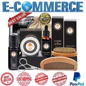 Beard-Care-Kit-For-Men-W-8-Pcs-Grooming-Comb-Brush-Balm-Oil-Facial-Hair-Mustache