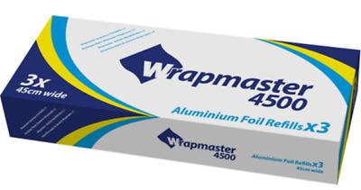 "Wrapmaster 4500 Catering Foil 45 cm X 90 mtrs Refills 8WF18 18/"" Foil 3 Rolls"