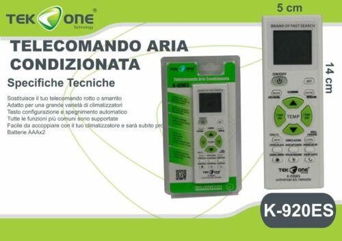 ds Telecomando Universale Per Condizionatori Climatizzatori TeKone K-920ES hsb