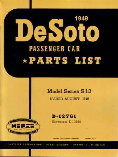 Bishko OEM Repair Maintenance Parts Book Loose Leaf for Desoto All Models 1949