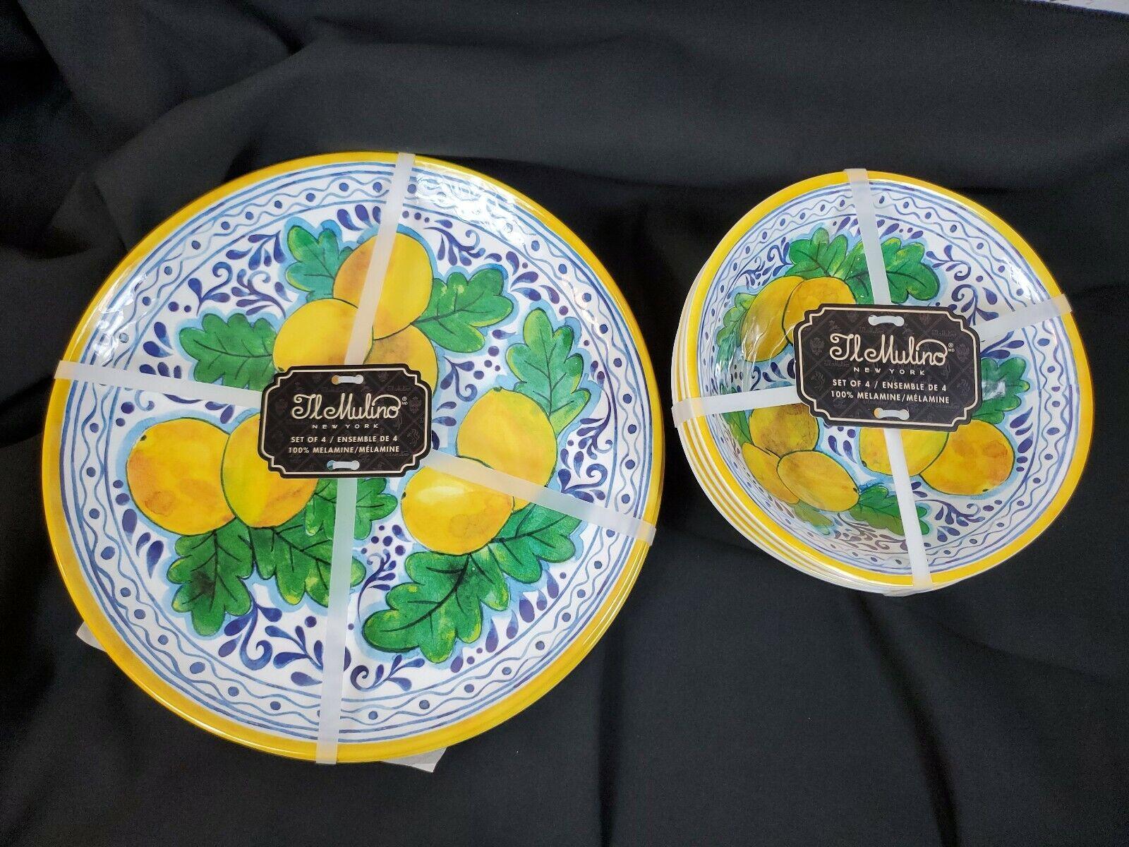 IL Mulino Dinner Toscane Citron assiettes & Saladiers Mélamine Brand New 8pc