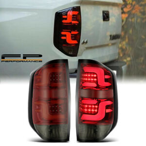 For 2014-2020 Tundra AlphaRex PRO-Series LED Tail Lights Red Housing Smoke lens