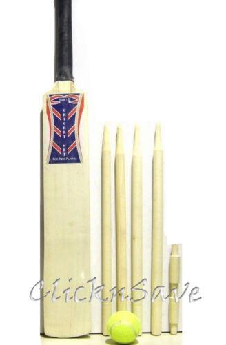 Kids Wooden Full Cricket Set Bat Size 3 Ball /& Stumps Children Garden Fun